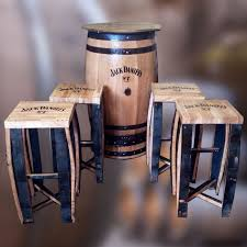 Bar Table And Stool Solid Oak Daniel S Branded Whisky Barrel Patio Table And
