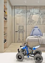 architecture kid boy bedroom family residence by the ukrainian yodezeen decoration using robotic bedroom wall mural including solid birch wood tile bedroom walls and light beige grey tartan pattern bed sheets image