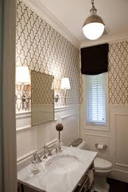 country french style interior powder room with wallpaper and black