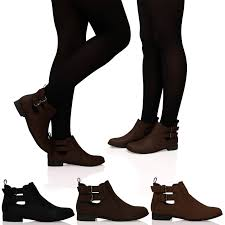 womens flat ankle boots uk womens cut out panels buckle pull tab flat ankle boots