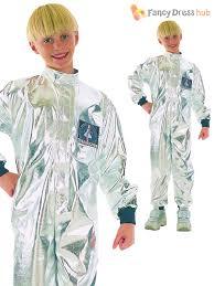 boys astronaut silver fancy dress costume age 7 9 years ebay