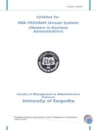 mba annual 2009 sargodha university syllabus strategic
