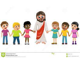 cartoon jesus hand in hand kids children stock vector image
