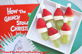 grinch fruit snack kebabs glued to my crafts