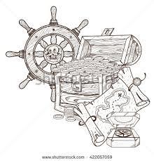 drawn compass treasure map pencil and in color drawn compass