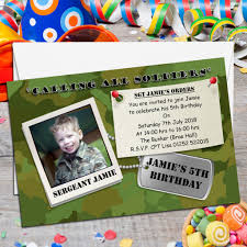 Christening And Birthday Invitation Card 10 Personalised Army Soldier Style Birthday Party Photo