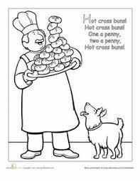 nursery rhyme coloring cross buns worksheets and homeschool