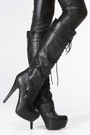 s qupid boots qupid black lace up platform stiletto knee high boot cicihot