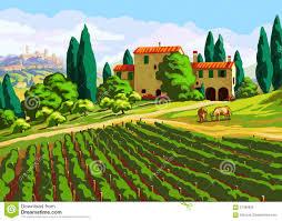 K He Landhaus Toskanische Landschaft Mit Landhaus Vektor Abbildung Bild 57099696