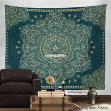 Indie Wall Decor Bohemian Tapestry Teal U0026 Gold Vintage Mandala Wall Hanging Boho