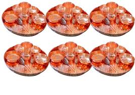 asiacraft set of 6 pure copper dinner set thali plate with bowl
