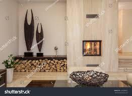 travertine house interior comfortable contemporary living stock