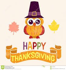 cute thanksgiving background retro thanksgiving day card design with cute little owl in pilgrim
