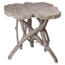 faux bois side table stump whitewash accent table