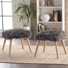 Fuzzy White Ottoman Furniture Wholesale Fuzzy Faux Footstool White