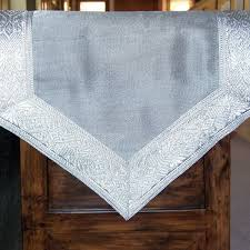 silver table runner with silver brocade border 72 inch always