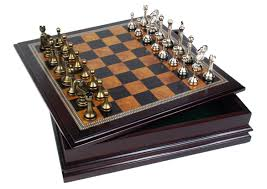 amazon com metal chess set with deluxe wood board and storage