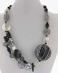 black glass necklace images Murano glass necklace black and white stripes real chic boutique jpeg