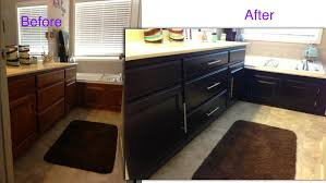 restore cabinet finish home depot refinishing builders grade oak bathroom cabinets to java colored