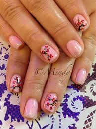 chinese new year nail art pink gel polish with cherry blossom