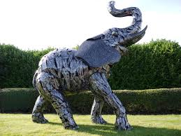 large metal garden elephant statue safari sculptures candle and blue