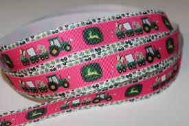 deere ribbon 1 yard of hot pink deere 7 8 grosgrain by ribbonsnbowsdesigns