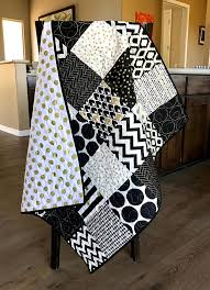 Black And Gold Crib Bedding Black White And Gold Baby Quilt Black And White Nursery Quilt