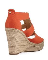 Lyst Michael Michael Kors Damita Zip Front Wedge Sandal In Blue