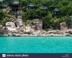 bungalows along beautiful ao leuk bay on koh tao island in