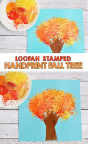 loofah stamped handprint fall tree craft for kids tree crafts