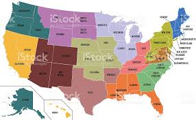 anerica map map of united states of america with state names stock photo