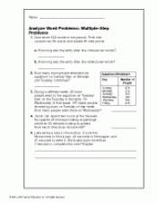multiple step word problems addition subtraction teachervision