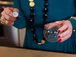 make glitter glass ornaments hgtv