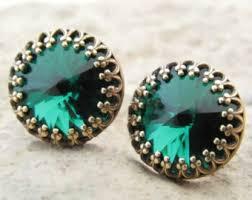 emerald green earrings green stud earrings etsy