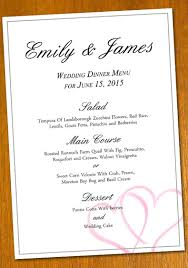 sle menu design templates wedding template