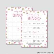 pink and gold baby shower bingo cards printable pre filled
