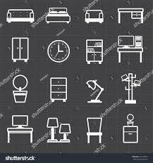Home Office Furniture Black by Home Office Furniture Interiors Black Background Stock Vector