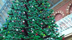 giant lego christmas tree st pancras station up close youtube
