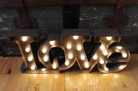 Metal Letters Home Decor Lighted Love Marquee Signmetal Letterrustic Weddingvintage