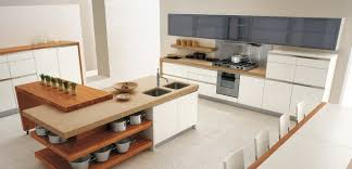 interior contemporary oak kitchen island with double stainless