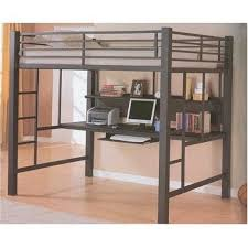 image of grey bunk bed with desk