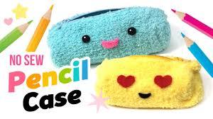 easy diy no sew fluffy pencil case or make up bag make diy emoji