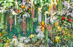 Fake Plants Artificial Vertical Garden And Fake Plants On Walls Stock Photo