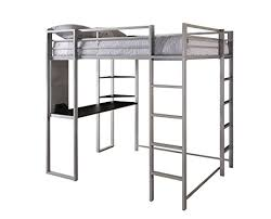 Loft Bed Frame With Desk Amazon Com Dhp Abode Full Size Loft Bed Metal Frame With Desk And