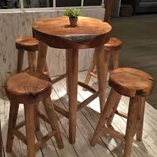 Round Teak Table And Chairs Rustic Teak Pub Table And Teak Stool Five Piece Set