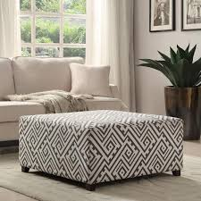Cloth Ottomans Valentina 36 Inch Grey White Fabric Cocktail Ottoman For The