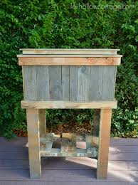 Outdoor Cooler Cart On Wheels by How To Build A Wood Deck Cooler Fox Hollow Cottage