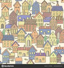 european houses seamless pattern background with european houses in pale colors