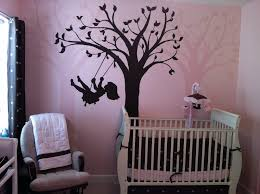 infant girl pink and brown bedding wall paint including silhouette swing paint by number wall mural