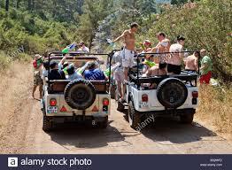 jeep safari jeep safari waterfights around icmeler marmaris mugla turkey stock